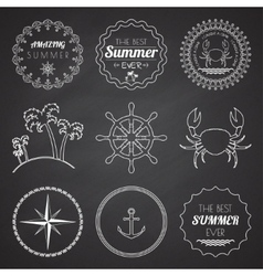 Set of 9 design summer elements frames borders vector