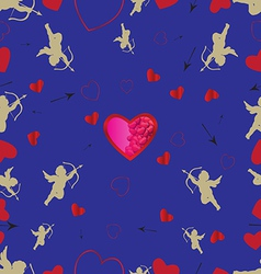 Seamless pattern with cupids and hearts vector