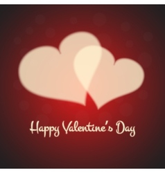 Valentines card with blurred cream hearts on red vector