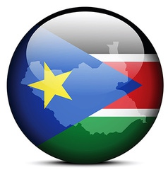 Map on flag button of republic south sudan vector