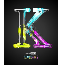 Design light effect alphabet letter k vector