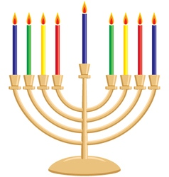 Chanukah menorah with lit candles vector
