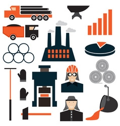 Flat design icons of metallurgy industry vector