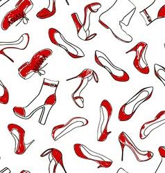 Seamless pattern of women footwear vector image
