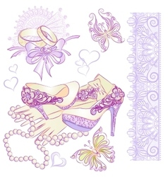 Wedding accessories part2 vector