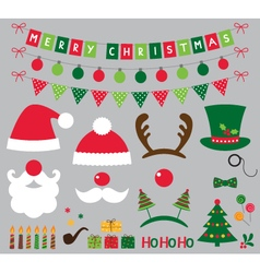 Christmas photo booth and decoration set vector