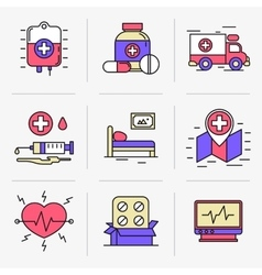 Creative flat line ikon set vector