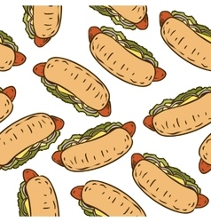 Seamless pattern with tasty hot dog vector