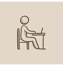 Student sitting on chair in front of laptop sketch vector