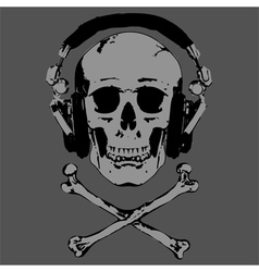 Skull and headphones vector