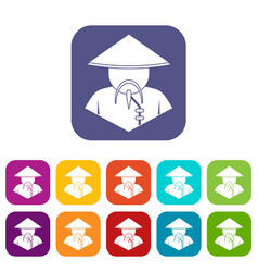 Asian man in conical hat icons set flat vector