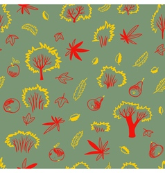 Autumn seamless pattern with trees and plants vector image vector image