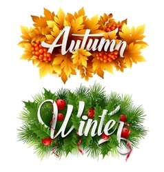 Auyumn and winter typographic banner vector