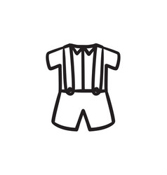 Baby shirt and shorts with suspenders sketch icon vector