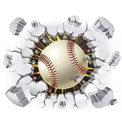 Baseball and Old Plaster wall damage vector image vector image