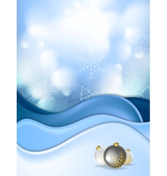 Blue snowdrift and Christmas balls vector image