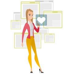 business woman pressing web button with heart vector image vector image