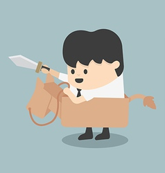 Businessman riding the toy horse fighting with swo vector
