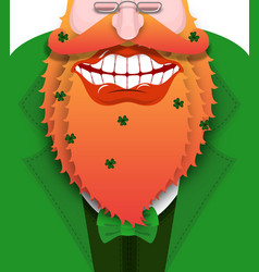 Cheerful leprechaun with red beard good gnome vector