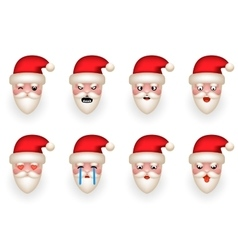 Christmas Santa Claus Avatar Smile Emoticon Icons vector image vector image