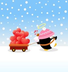 Cupid Penguin Delivering Love vector image