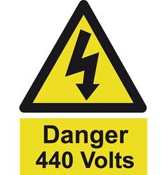 Danger 440 volts safety sign vector