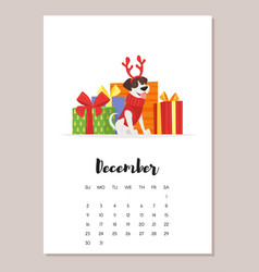 december dog 2018 year calendar vector image vector image
