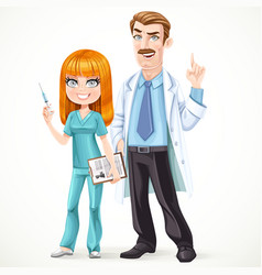 Doctor mustached man in a white medical coat vector