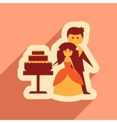 Flat web icon with long shadow bride groom cake vector