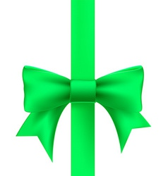 green ribbon with a bow vector image