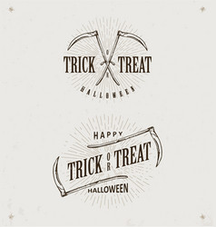 halloween trick or treat logos vector image vector image