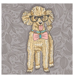 Hipster poodle with glasses and bowtie vector