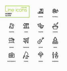 hobby - line design icons set vector image vector image