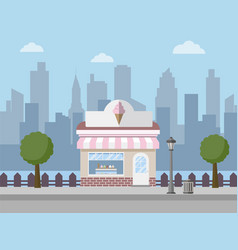 ice cream shop with city background vector image