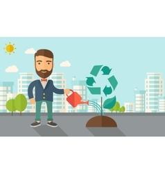 Man watering a tree vector image