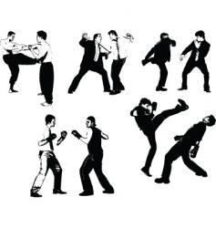 men fight silhouettes vector image vector image
