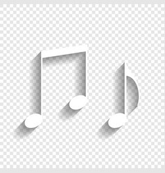 Music notes sign white icon with soft vector