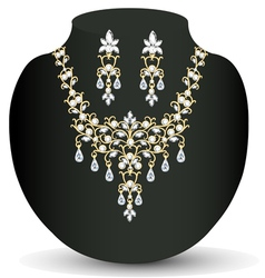 Necklace and earrings wedding womens vector