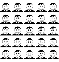 Office smileys set black contour vector image vector image