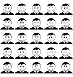 Office smileys set black contour vector image