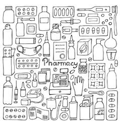 Pharmacy doodle set vector image