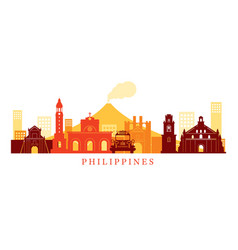 philippines architecture landmarks skyline shape vector image vector image