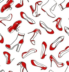 Seamless pattern of women footwear vector image