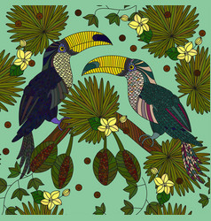seamless patterns with a pair of tropical vector image vector image