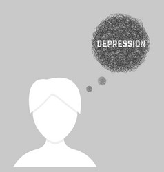 silhouette of woman in depression vector image vector image