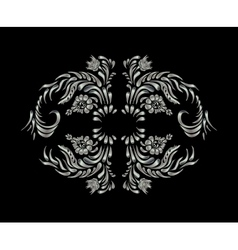 Silver flowers on black background vector image vector image