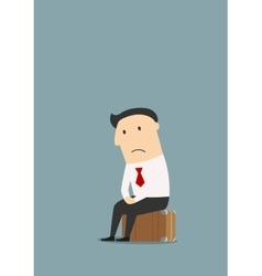 Unemployed cartoon businessman after dismissal vector