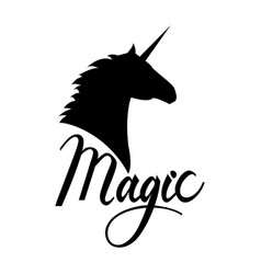 Unicorn head silhouette with text vector