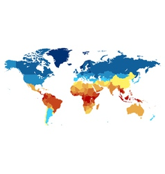 World map with countries colored from equator vector image vector image