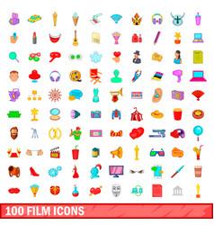 100 film icons set cartoon style vector